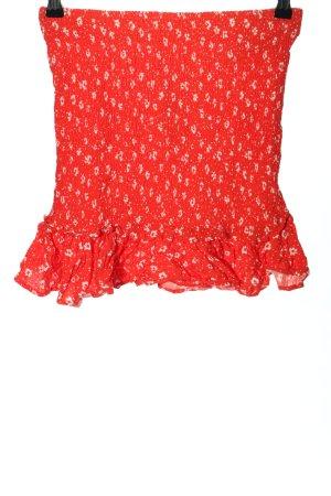 Bershka Minirock rot-weiß Blumenmuster Casual-Look