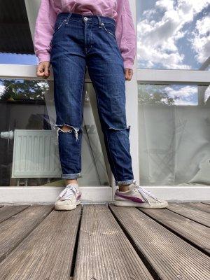 Bershka Workowate jeansy niebieski