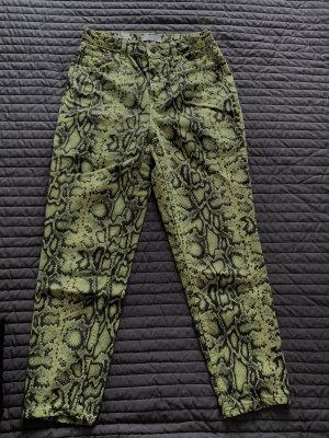 Bershka Jeans boyfriend jaune fluo-noir
