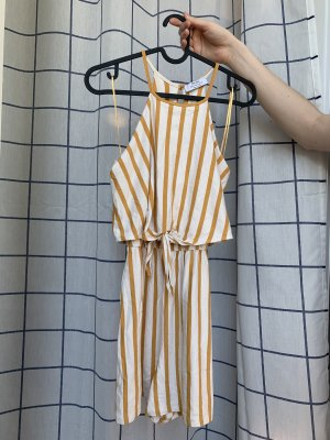 Bershka Halter Dress gold orange-white