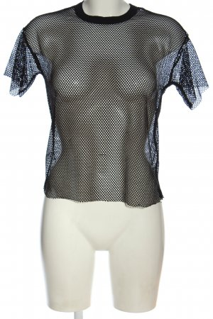 Bershka Siateczkowa koszulka czarny Siateczkowy wzór W stylu casual