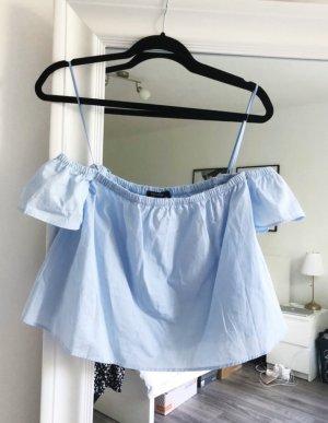 Bershka Off-Shoulder Bluse hellblau/himmelblau