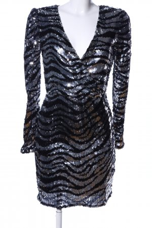 Bershka Vestido de lentejuelas negro-color plata elegante