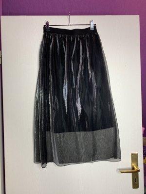 Bershka Falda plisada negro-color plata