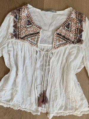 Bershka Premium Collection Bluse Tunika Jacke Perlenstickerei Boho Edel Fransen 34-36 XS/S