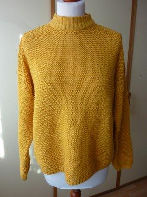 Bershka Pulli Gr. S M 36 38 gelb senf Stehkragen Turtleneck Grobstrick wenig getragen curry weich Baumwolle leichtes Pilling