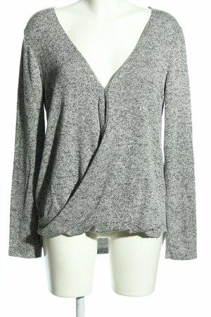 Bershka Pullover Shirt grau hellgrau meliert Casual-Look Gr. 40