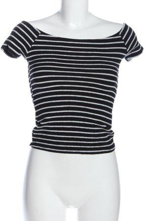Bershka Ringelshirt schwarz-weiß Streifenmuster Casual-Look