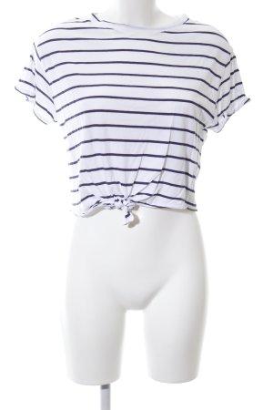 Bershka Gestreept shirt wit-blauw gestreept patroon casual uitstraling
