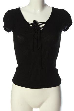Bershka Chemise côtelée noir style décontracté
