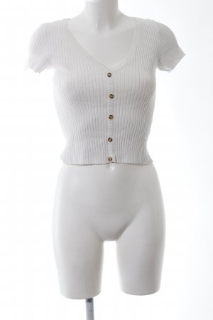 Bershka Camisa acanalada blanco look casual