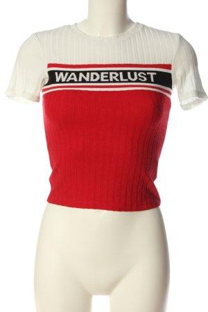 Bershka Prążkowana koszulka Wydrukowane logo W stylu casual
