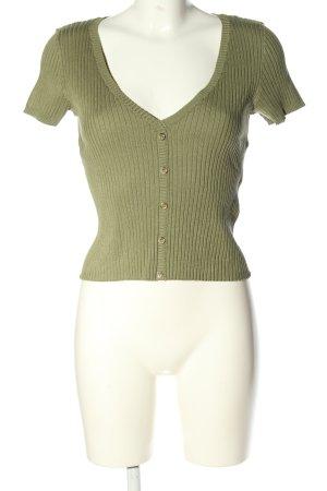 Bershka Prążkowana koszulka khaki W stylu casual