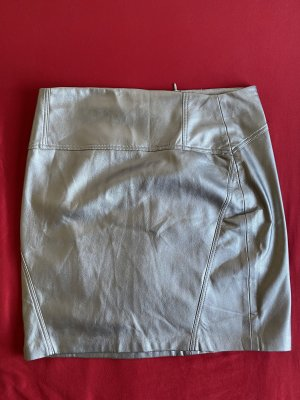 Bershka Spódnica z imitacji skóry srebrny