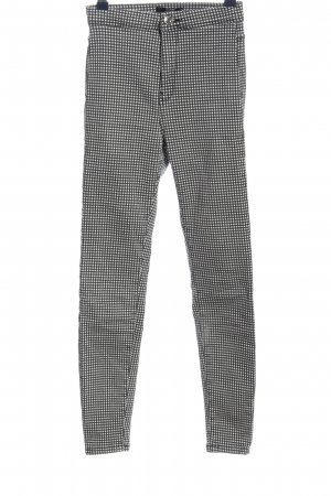 Bershka Drainpipe Trousers black-light grey check pattern casual look