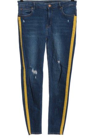 Bershka Tube jeans blauw-sleutelbloem casual uitstraling