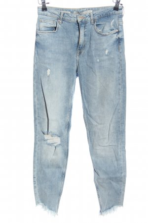 Bershka Tube jeans blauw casual uitstraling