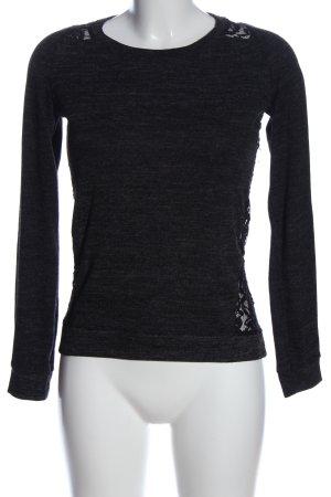 Bershka Sweter z okrągłym dekoltem czarny Melanżowy W stylu casual