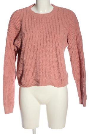Bershka Rundhalspullover pink Zopfmuster Casual-Look
