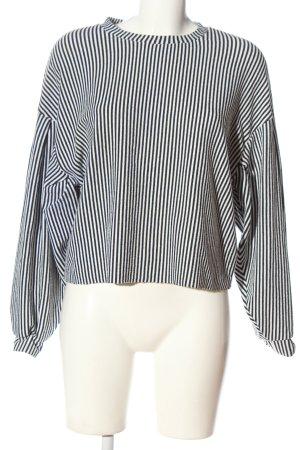 Bershka Kraagloze sweater wit-zwart gestreept patroon casual uitstraling