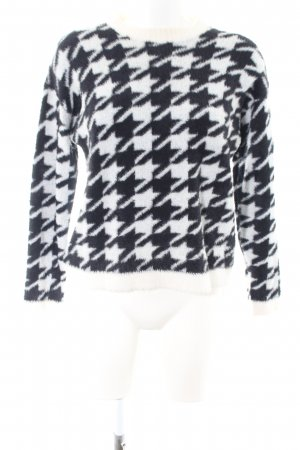 Bershka Crewneck Sweater white-black polyamide