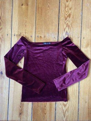 Bershka Samt Shirt Gr. XS Weinrot