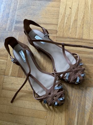 Bershka Strapped Sandals brown-silver-colored