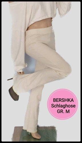 Bershka Pantalon pattes d'éléphant blanc cassé-crème