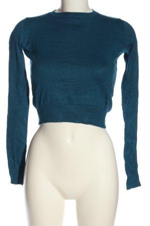 Bershka Cropped Pullover blau Casual-Look