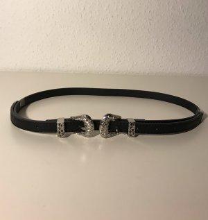 Bershka Double Belt black-silver-colored