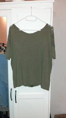 Bershka Top extra-large gris vert-kaki