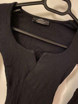 Bershka Camisa acanalada negro