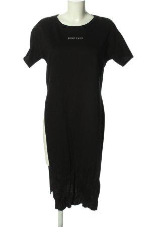 Bershka Longshirt schwarz-weiß Schriftzug gedruckt Casual-Look