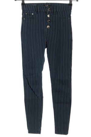 Bershka Skinny Jeans weiß-blau Streifenmuster Casual-Look