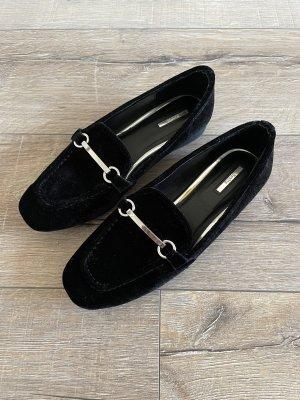 Bershka Slipper Loafer schwarz Samt mit silberner Schnalle Gr. 37