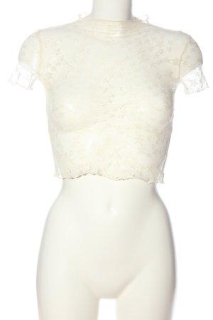 Bershka Koronkowa bluzka w kolorze białej wełny W stylu casual