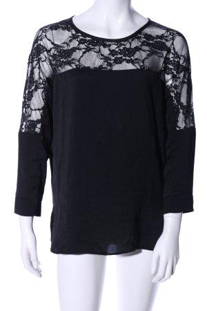 Bershka Spitzenbluse schwarz Casual-Look