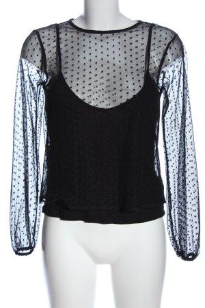 Bershka Transparenz-Bluse schwarz Casual-Look