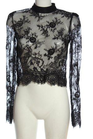 Bershka Spitzenbluse schwarz Elegant