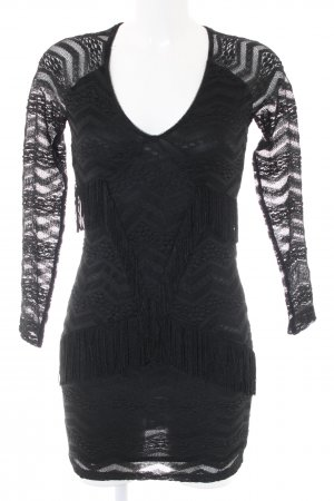 Bershka Spitzenkleid schwarz grafisches Muster Casual-Look