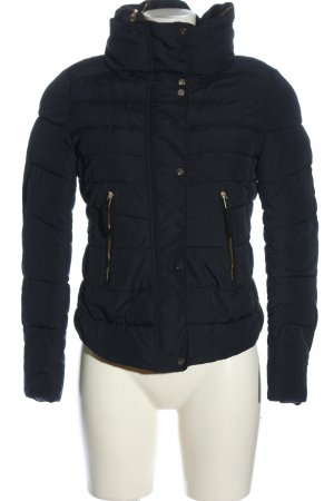 Bershka Quilted Jacket black quilting pattern casual look