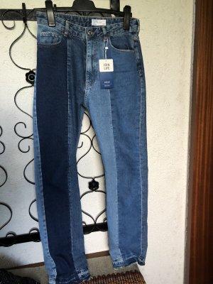 Bershka Straight Fit Jeans in Kontrastfarben, Gr. 38