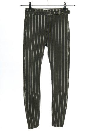 Bershka Spodnie ze stretchu jasnoszary-biały Na całej powierzchni