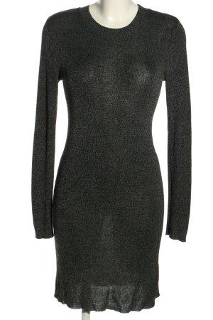 Bershka Strickkleid schwarz-weiß meliert Casual-Look