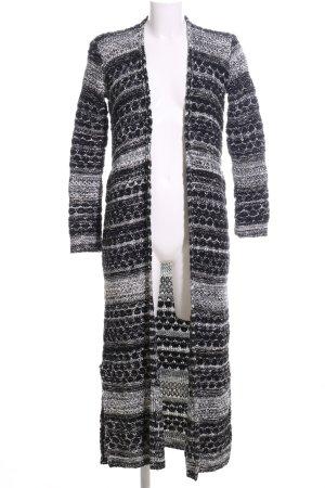 Bershka Abrigo de punto negro-blanco estampado gráfico look casual