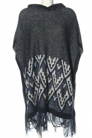 Bershka Knitted Poncho light grey-white graphic pattern casual look