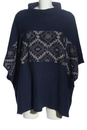 Bershka Strickponcho blau-hellgrau grafisches Muster Casual-Look