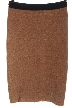 Bershka Falda de punto marrón-negro look casual