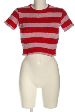 Bershka Strickshirt rot-pink Allover-Druck Casual-Look