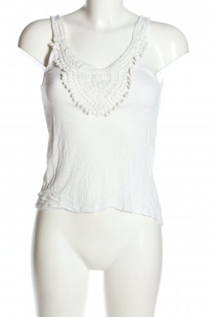 Bershka Top lavorato a maglia bianco stile casual
